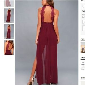 LULUS MY BELOVED BURGUNDY LACE MAXI DRESS